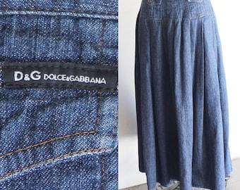 90s Dolce & Gabbana Denim Maxi Skirt
