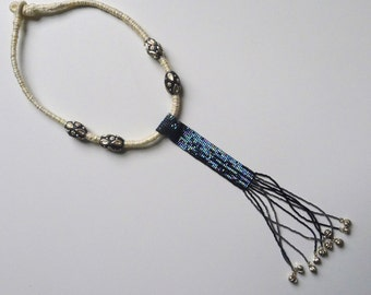 Kuldevi- Beaded tassel and chord necklace