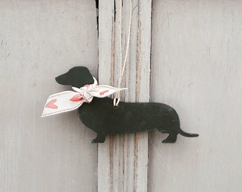 Hanging Handpainted Dachshund Decoration, Dachshund Ornament, Sausage Dog, Wiener Dog, Dachshund Lover Gift, Dog Lover Gift