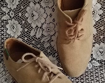 G H Bass Suede Shoes Womens Size 9 1/2 SS Lace Up Oxfords