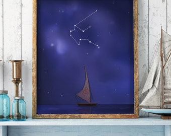 Aquarius sign, Aquarius constellation, moana print, moana drawing, sky stars, disney print, zodiac sign, horoscope, printable art, artwork