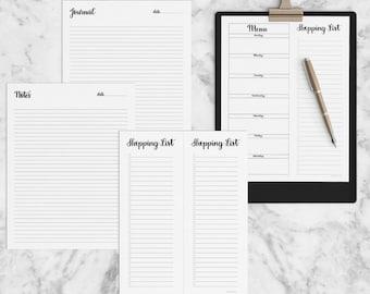 Full Page Planner, Notes, Menu, Shopping List, 2017, Journal, List, Printable, Planner Calendar, Hand Lettered, INSTANT DOWNLOAD