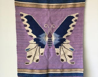 Large Vintage Tapestry- Peruvian Wool- Butterfly Wall Hanging- Handmade- Little Girl's Room- Girl Decor- Nursery Decor