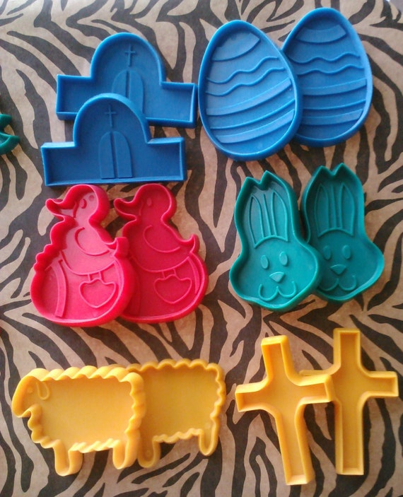 12 Spring Easter Baby Shower Cookie Cutters, Duckling, Bunny, Sheep, Cross, Church