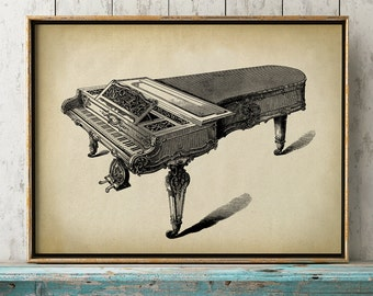 PIANO Print, Piano Poster, musical instrument drawing, music gift
