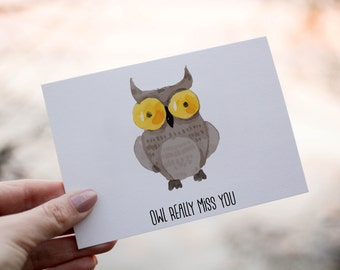 PRINTABLE | Owl Really Miss You | Greeting Card | Farewell Card | Goodbye Card | Instant Download | Digital | Owl | Good Luck | Card