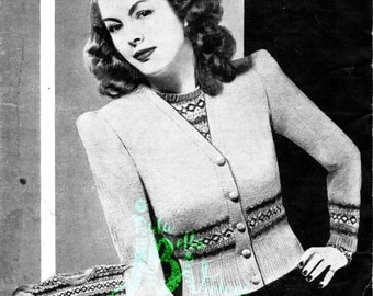Vintage 1940s Fairisle Twin Set Jumper/Sweater and Cardigan PDF Knitting Pattern Instant Download