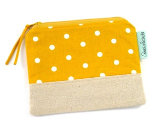 Small Money Purse, Coin Purse, Polka Dot Coin Purse, Yellow Coin Purse, Polka Dot Coin Pouch, Money Pouch, Small Zipper Pouch, Gift for Her
