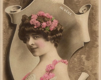 Elise de Vere, Edwardian Stage Actress Art Nouveau Fantasy Photomontage by Reutlinger… Original 1900s Rare Hand Tinted French Postcard
