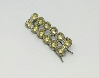 Vintage Mid Century Barrett Hair Clip with Rhinestones * Wedding Hair Clip