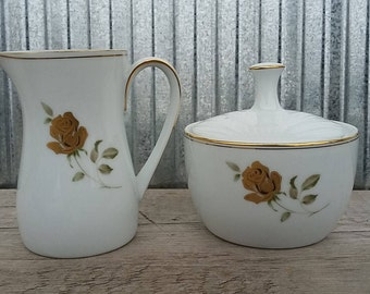 Vintage Noritake Prima Donna Cream and Sugar Set-Vintage Noritake-Rose Cream and Sugar-Midcentury Cream and Sugar-Vintage Cream and Sugar