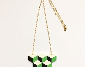 Geometric Leather Necklace// Graphic Scandinavian// Handmade Jewelry Design