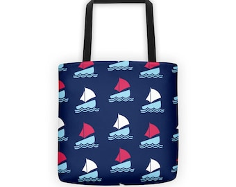 Sailboat Pattern Tote Bag