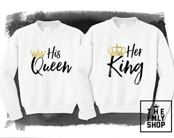 Her King His Queen Sweatshirt, King and Queen Sweatshirts, Couple Sweatshirts, King Queen Sweatshirt, King Crown Sweatshirt, Queen Swetshirt