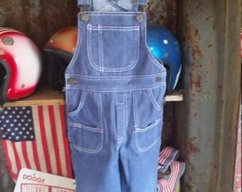 80s Toddler Blue Denim Overalls. Size 3T