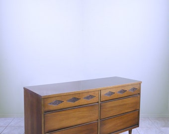 Mid Century Dresser Atomic DIAMOND PANELED Space Age Cabinet Credenza  Danish Mod Buffet By BASSET