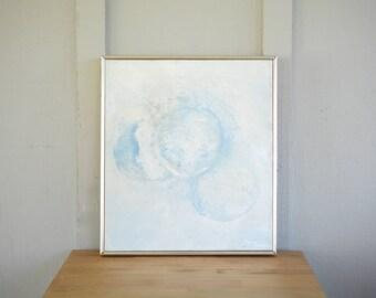 Original Oil Painting, blue, abstract, minimalist, modern, framed, vintage