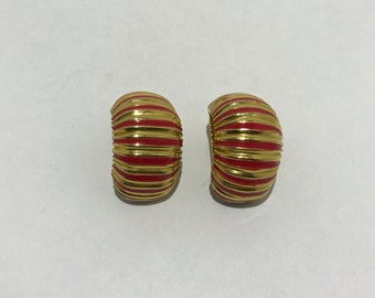 Vintage red and gold clip earrings