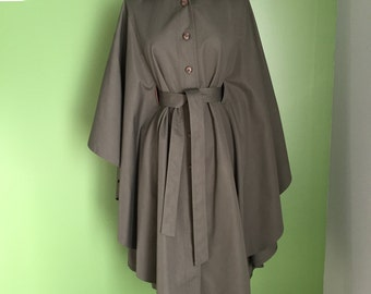 Vintage Forecaster Military Green Cape Style Raincoat
