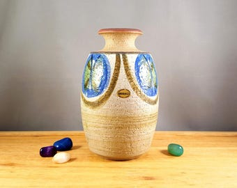 Vintage Danish pottery, Soholm ceramic vase, hand painted in blue, green and beige colours