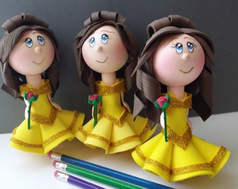 beauty and the beast,belle,disney,princess,pencil topper,belle and beast,party favours