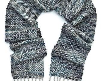 Alpaca Scarf - Chunky Scarf - Winter Scarf - Grey Wool Scarf - Warm Scarf - Gray Scarf - Handwoven Scarf - Woven Scarf - Hand Made Scarf