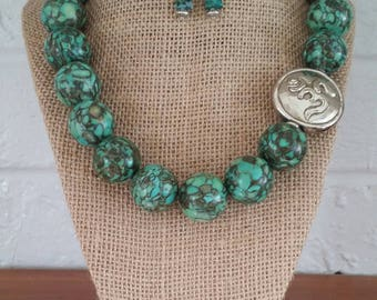 Turquoise Necklaces, Turquoise Jewelry, Turquoise Earrings, Big Bold Stone Necklace, Big Bold Chunky Necklace, Zen Jewelry, Buddhist Jewelry