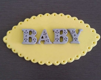 1 x Baby Cake Topper, Baby Shower Cake decoration, edible baby plaque,  baby shower decorations