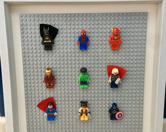 Framed Superhero Minifigures - Hulk - Thor - Ironman - Captain America - Spiderman - Flash - Superman - Batman - Wolverine