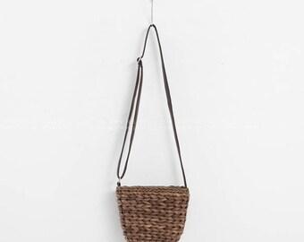Brown/Ivory thick Sisal Straw  Bags - Natural straw bag- Cross straw bag- mini sisal bag - small straw bag - minimalist bag -summer bag