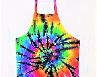 Chef Gift// Black and Rainbow Apron// Tie Dye Apron// Gay Pride// Grilling accessory// Hippies // cook// BBQ// Gift for Dad//   A2