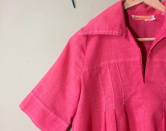 Vintage maternity top / tunic / smock in pink. 1970s. Size 10 - 12