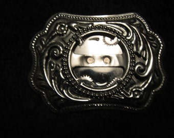 Metal Belt Buckle Customizable with your own Coin or Stone free shipping in u s a