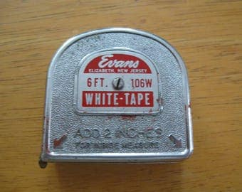 vintage Working Tape  Measure  Evans 6ft 106w WHITE-TAPE made in USA free shipping in the u s a