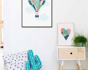 Hot Air Balloon Nursery Wall Art, Scandinavian Nursery Art, Modern Nursery Decor, Balloon Nursery Print, Kids Room Art, Baby Room Printable