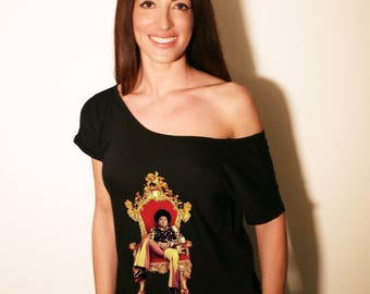 MICHAEL JACKSON Sexy Loose Off Shoulder T-shirt, Boat Neck Short Sleeve top t-shirt. Music t shirt, apparel, clothing by FET.tees.