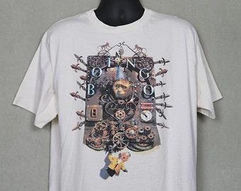Oingo Boingo shirt, vintage rare T-shirt, cream white tee, new wave, ska, 1980s, double sided
