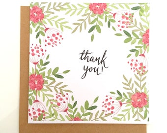 Floral Thank You Card, Floral Greetings Card, Flower Thank You Card