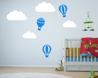 Nursery Wall Stickers - Hot Air Balloon & Clouds Wall Decals