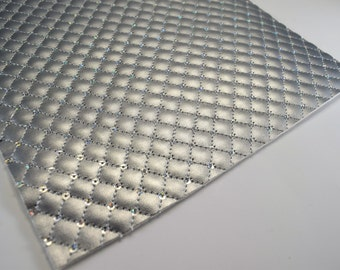 QUILTED SILVER SEQUIN leather sheet,8x11 faux leather,silver quilted sheet,faux leather,silver vegan leather, quilted sequin, quilted fabric