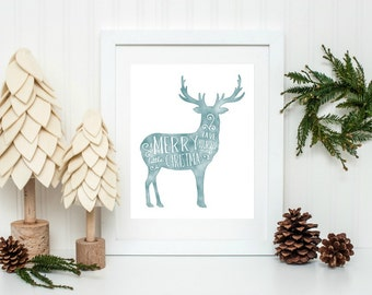 Christmas Printable, Festive Home Decor, Rustic Christmas Decor, Reindeer Print, Have yourself a Merry Little Christmas, Instant Download