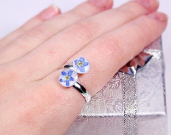 flower ring terrarium gifts blue ring double flower gift mother adjustable ring forget me not blue silver jewelry resin ring statement u9