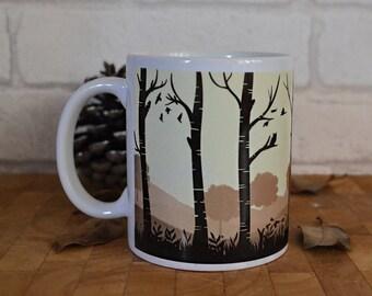 Woodlands Mug, Wildlife, Mug, Stag Mug, Ceramic Coffee Mug