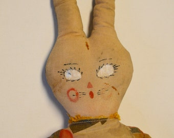 "Primitive Bunny 1920's art deco print fabric 23"" tall"