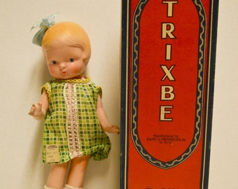 Trixbe doll by Freundlich, 11 inch, Patsy look a like, AO old store stock w/original box