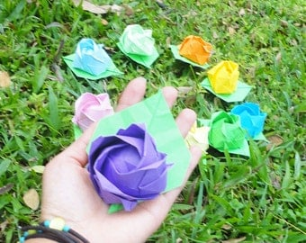 baby shower,bridal shower,Set of 10 Origami Roses,paper rose wall decor,wedding paper flower backdrop,Garden Wedding, Party Table Decor,