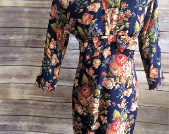 Sophisticated 1980's Navy Blue Rich Floral Print Short Dress Petite 2