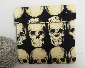 Circular Needle Case or Notions case for Knitting/ Crochet/ Fiber Arts/ Sewing; Skulls and fingerprint fabric