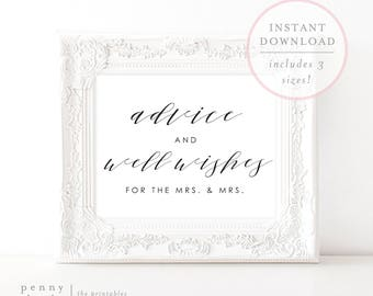 Advice and Well Wishes For the Mrs and Mrs. Advice and Well Wishes Print. Well Wishes Printable. Printable Wedding Sign. Well Wishes.(SH)