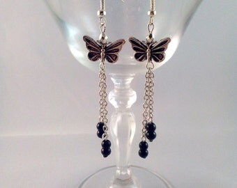 Silver earrings, butterfly black chains